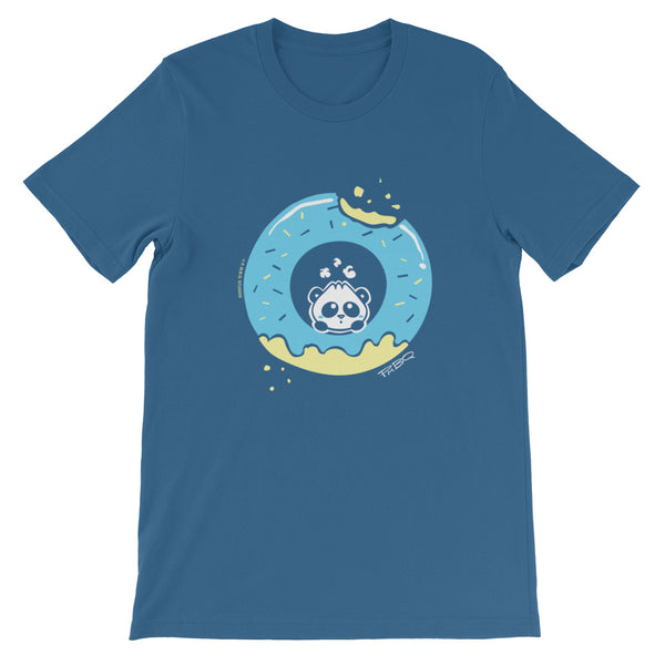 Pandabun, a character created and owned by P.M.B.Q. Studios, sitting in an a deliciously iced donut. He's looking up nervously at the bite in the donut on the upper right. This design is printed in white, light blue and lemon yellow on a steel blue unisex t-shirt.