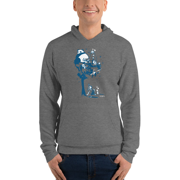 This design depics a group of characters designed and owned by P.M.B.Q. Studios, relaxing in a tree.  The design is printed in white and blue ink on a dark heather grey pullover hooded sweatshirt. The sweatshirt is worn by a male model.