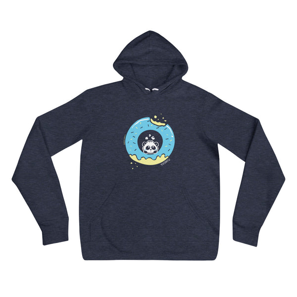 Pandabun, a character created and owned by P.M.B.Q. Studios, sitting in an a deliciously iced donut. He's looking up nervously at the bite in the donut on the upper right. This design is printed in white, light blue and lemon yellow on a heather navy unisex pullover hooded sweatshirt.