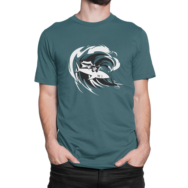 Surfing Ninja Panda + Shark Men's/Unisex T-shirt