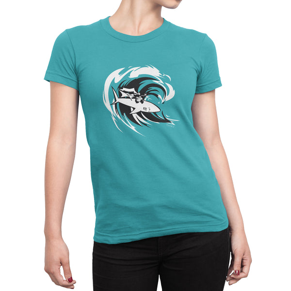Surfing Ninja Panda + Shark Women's T-shirt