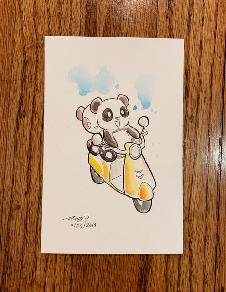 "Panda Moped Joyride - Original Watercolor Painting 4""x6"""