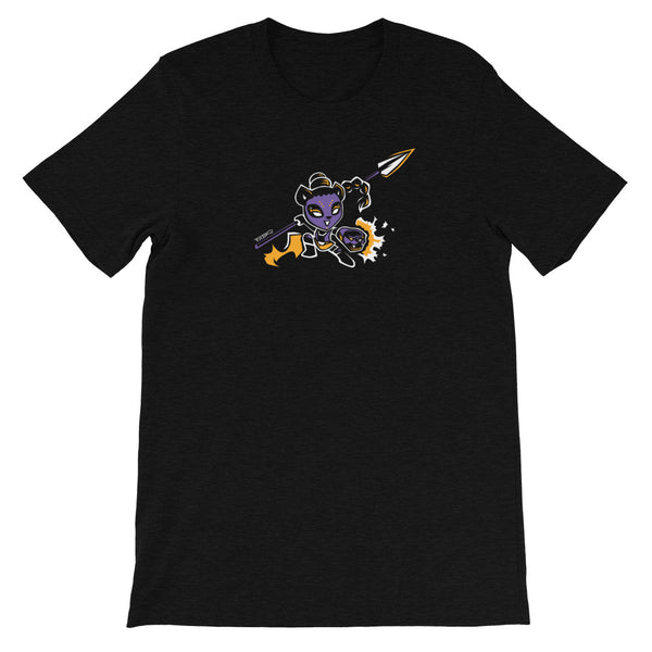 Pantherous Panda is battle-ready with her arm canons and spear. This design is created by P.M.B.Q. Studios and is printed in white, purple and yellow ink on a black heather unisex t-shirt.