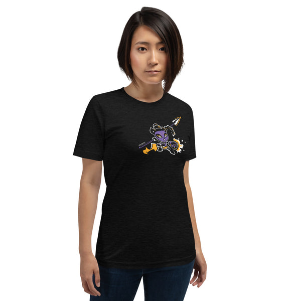 Pantherous Panda is battle-ready with her arm canons and spear. This design is created by P.M.B.Q. Studios and is printed in white, purple and yellow ink on a black heather unisex t-shirt. The t-shirt is worn by a female model.