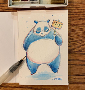 "Genma Panda - Original Watercolor Painting 4""x6"""