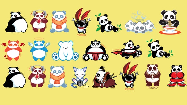 Panda Collage - Zoom Background