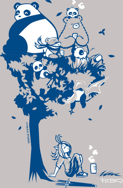 This design depics a group of characters designed and owned by P.M.B.Q. Studios, relaxing in a tree.