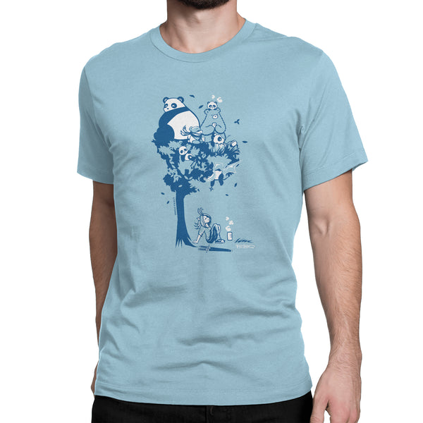 This design depics a group of characters designed and owned by P.M.B.Q. Studios, relaxing in a tree.  The design is printed in white and blue ink on an ocean blue unisex t-shirt. The t-shirt is worn by a male model.