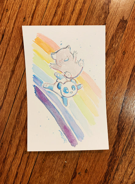 "Rainbow Adventures with Wombat and Panda - Original Watercolor Painting 4""x6"""