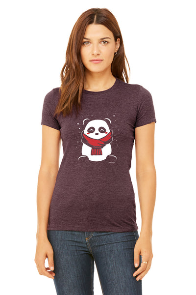 SnoPanda, a character created and owned by P.M.B.Q. Studios, printed in white and red ink on a heather maroon women's fitted t-shirt. The t-shirt is worn by a female model.