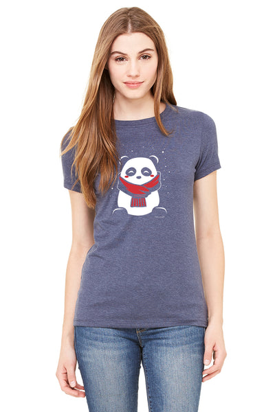 SnoPanda, a character created and owned by P.M.B.Q. Studios, printed in white and red ink on a heather navy women's fitted t-shirt. The t-shirt is worn by a female model.