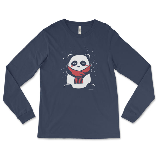 SnoPanda, a character created and owned by P.M.B.Q. Studios, printed in white and red ink on a navy unisex longsleeve t-shirt.