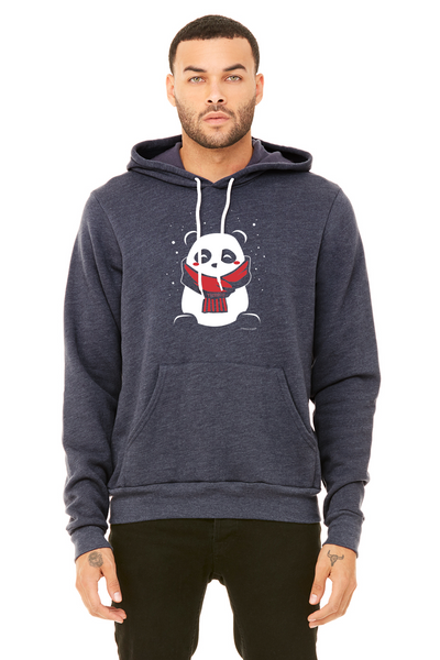 SnoPanda, a character created and owned by P.M.B.Q. Studios, printed in white and red ink on a heather navy unisex pullover sweatshirt. The sweatshirt is worn by a male model.