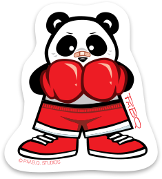 Boxing Panda Durable Vinyl Sticker