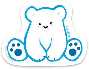 Polo the cute polar bear cub, a character designed by P.M.B.Q. Studios. Polo is a white bear with small cute black eyes and nose and a serious expression on his face. The outline of his character is an aqua blue and his paw prints are dark blue. This image is on a sticker.
