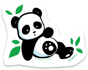 Sleepy Panda Cub Durable Vinyl Sticker