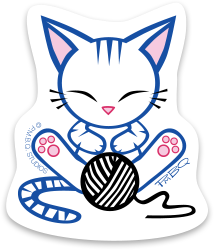 Stripe the Kitten, a character designed by P.M.B.Q. Studios. This image is of Stripe, who is a cute white kitten with indigo stripes on his head and tail. He has pink ears, a pink nose, and pink paw pads. He is snoozing in front of a ball of yarn, printed in black ink.