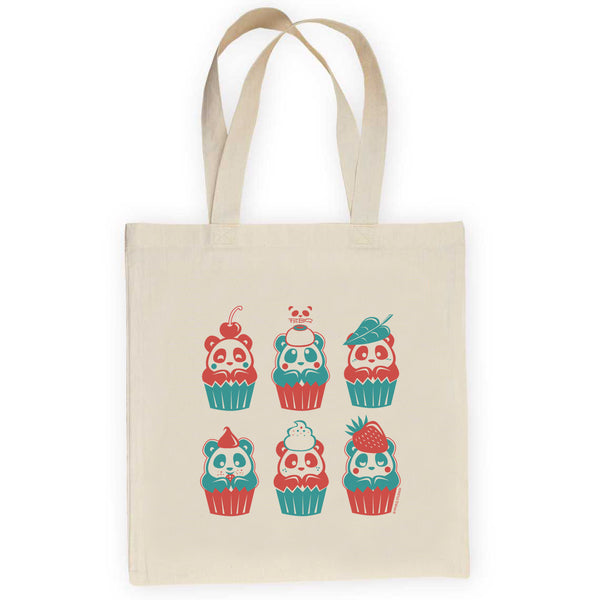 Cupcake Pandas Lightweight Canvas Tote Bag