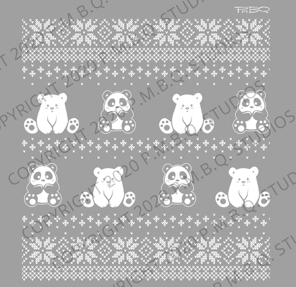 Cute Winter Pandas, Pandabuns, Cats Eco-Fleece Hoodie 2XL