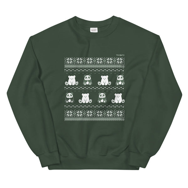 Winter Holiday Sweater design by P.M.B.Q. Studios. This design simulates a wintry knit pattern and features the Polo Cub character and his adorable panda friend. The design is white printed on a unisex forest green crewneck sweatshirt.