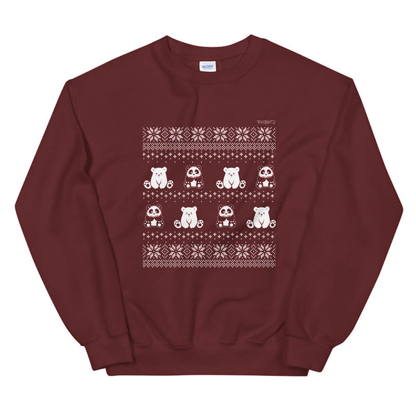 Winter Holiday Sweater design by P.M.B.Q. Studios. This design simulates a wintry knit pattern and features the Polo Cub character and his adorable panda friend. The design is white printed on a unisex maroon crewneck sweatshirt.