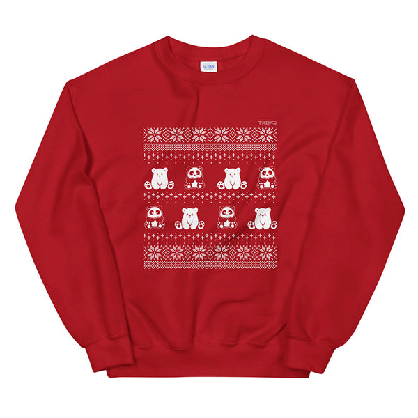 Winter Holiday Panda Sweater design by P.M.B.Q. Studios. This design simulates a wintry knit pattern and features the Polo Cub character and his adorable panda friend. The design is white printed on a unisex red crewneck sweatshirt.