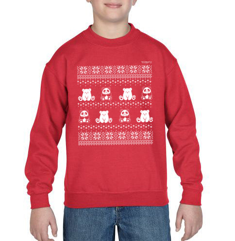 Winter Holiday Sweater design by P.M.B.Q. Studios. This design simulates a wintry knit pattern and features the Polo Cub character and his adorable panda friend. The design is white printed on a youth red crewneck sweatshirt and is worn by a boy model.