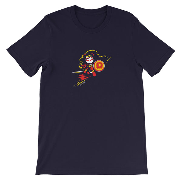 Wonderous Panda, a heroic raven-haired panda drawn by P.M.B.Q. Studios, kneels with her sword and shield ready for battle. This design is printed in white, red and yellow ink on a navy unisex t-shirt.