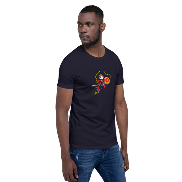 Wonderous Panda, a heroic raven-haired panda drawn by P.M.B.Q. Studios, kneels with her sword and shield ready for battle. This design is printed in white, red and yellow ink on a navy unisex t-shirt. The t-shirt is worn by a male model.