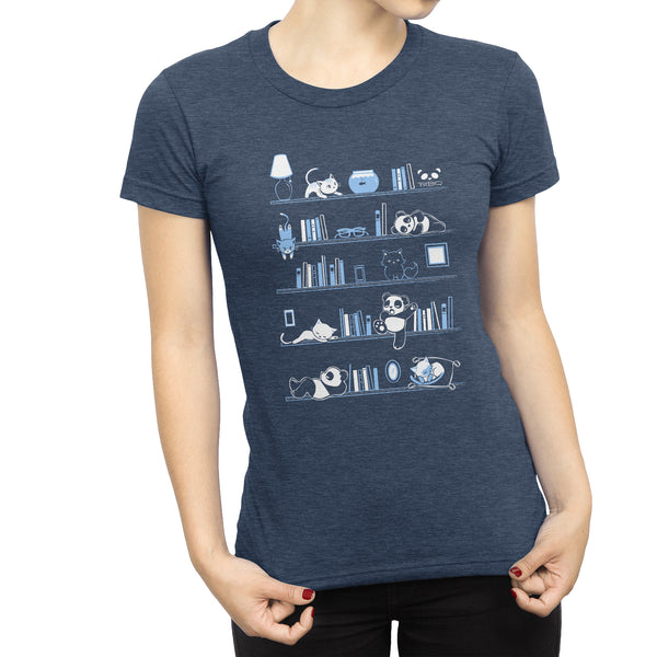 Library Cats and Pandas Women's T-shirt