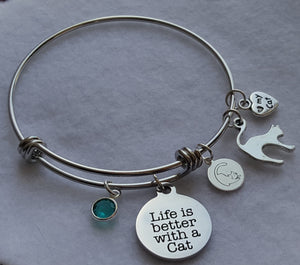 Cat Charm Bracelet - Life is Better With a Cat