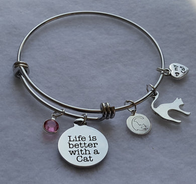 Life is Better with a Cat Wire Bangle Charm Bracelet with 5 cat charms: Life is Better with a Cat Charm, Miau Miau Clothing Co. Brand Charm, Cat Silhouette Charm, I love my Cat Charm, Round Crystal Charm. 60 mm fits ~7