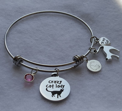 Crazy Cat Lady Wire Bangle Charm Bracelet with 5 cat charms: Crazy Cat Lady Charm, Miau Miau Clothing Co. Brand Charm, Cat Silhouette Charm, I love my Cat Charm, Round Crystal Charm. 60 mm fits ~7