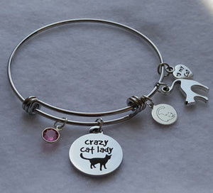 "Crazy Cat Lady Wire Bangle Charm Bracelet with 5 cat charms: Crazy Cat Lady Charm, Miau Miau Clothing Co. Brand Charm, Cat Silhouette Charm, I love my Cat Charm, Round Crystal Charm. 60 mm fits ~7"" to 8"" wrist 65 mm fits ~8"" to 9"" wrist. Color: Pink"