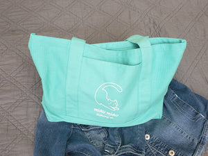 Vintage washed teal tote bag with side pocket with Miau Miau Clothing Co. logo