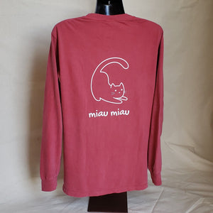 Long Sleeve Cat T-shirt (Adult) - Crimson