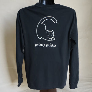 Long Sleeve Cat T-shirt (Adult) - Black