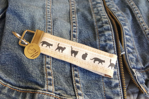 Cat Key Chain with Miau Miau Clothing Co. Charm - (Cream)