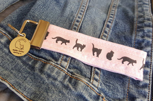 Cat Key Chain with Miau Miau Clothing Co. Charm - (Pink)
