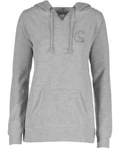 Cat Sweatshirt - V-Notched Ladies Fleece Pullover Hoodie - Athletic Grey
