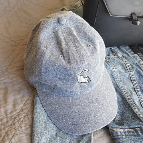 Cat Baseball Cap - Denim