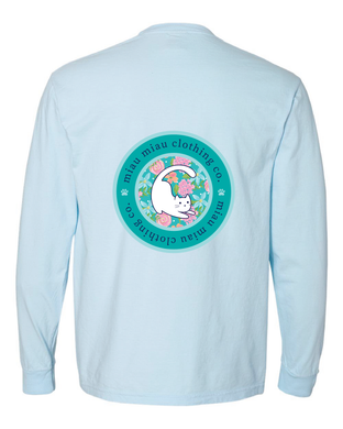 Long Sleeve Cat T-Shirt - Blue Flowers