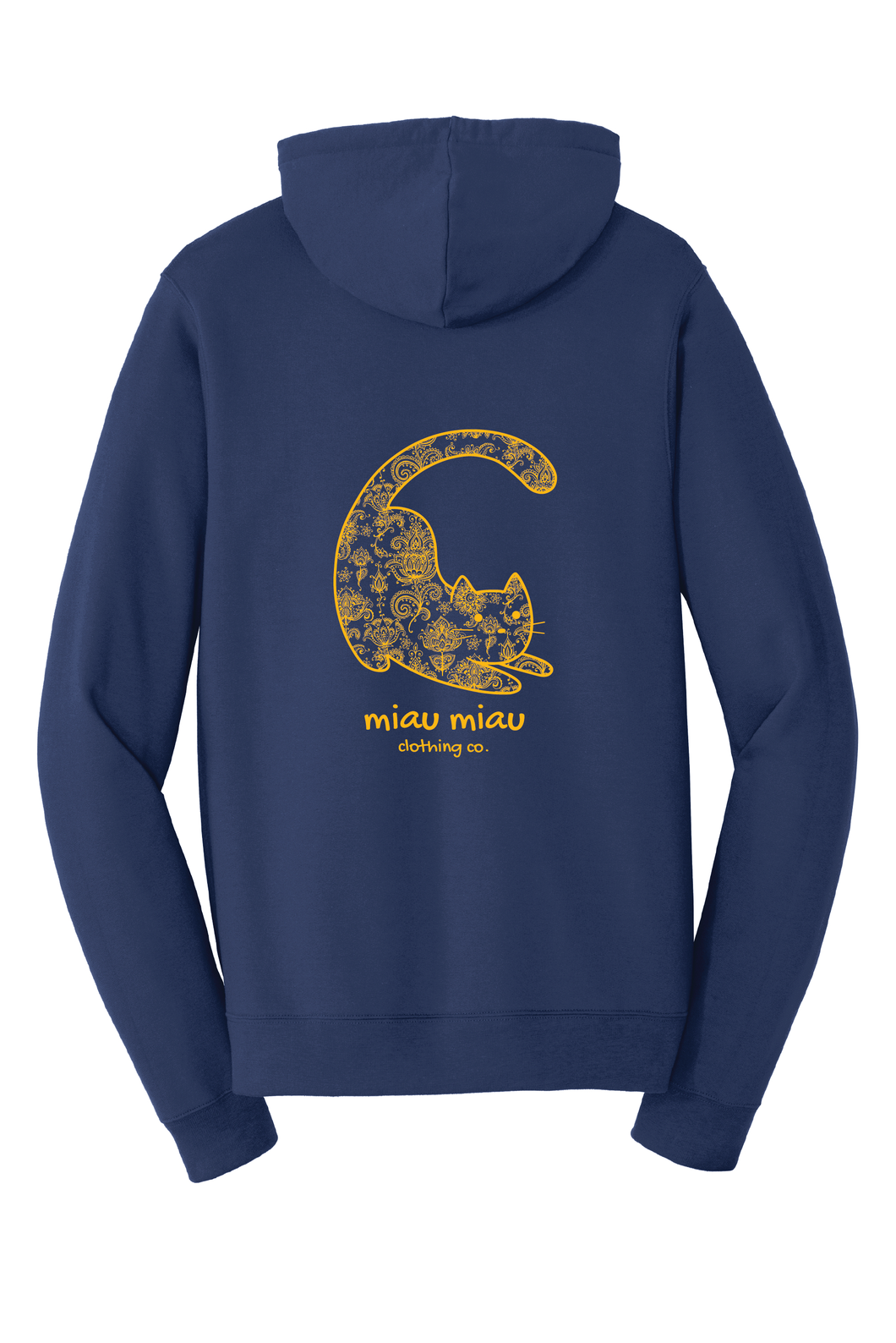 Fleece Cat Hoodie - Navy and Yellow