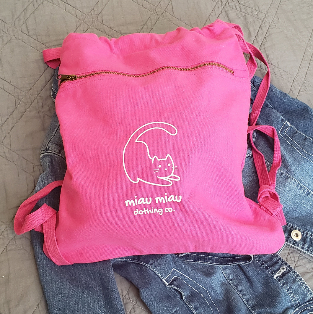 Trendy school backpacks - Vintage washed rasberry pink cinch style backpack bag with Miau Miau Clothing Co. logo