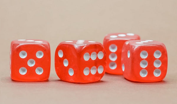 photo of four red dice