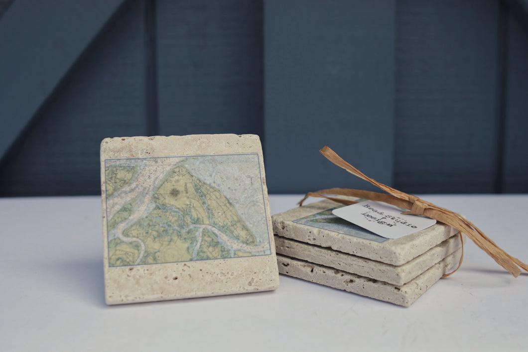 Hilton Head Map Coaster Set of Four