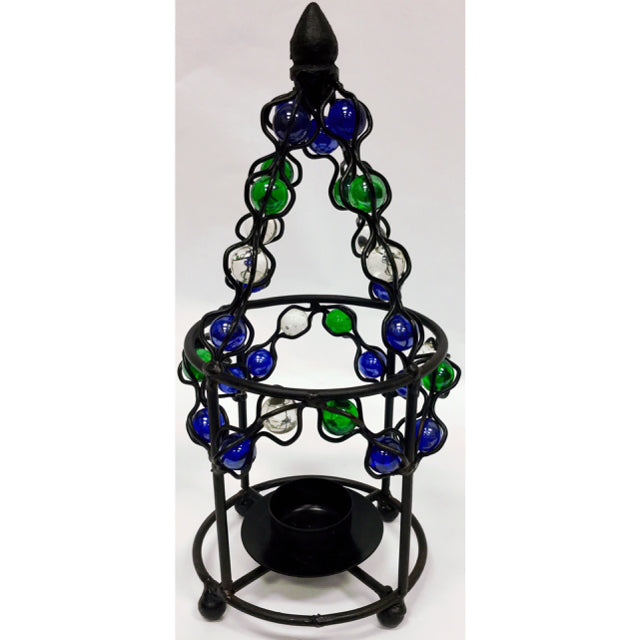 Black/Multi Metal Candle Holder