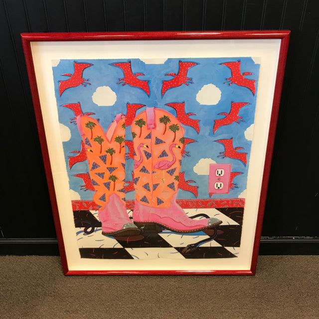 "Steve Rosser Limited Edition Lithograph, ""Flamingo Boots"""