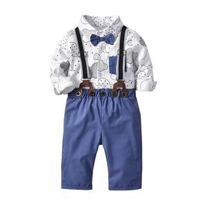 boys, baby, bowtie, overalls, suspenders, outfit, clothing, apparel, cute, adorable, baby, newborn, kiddo, summer, clothes, print, top and pants, set, clouds, moon, going out clothes, little man, blue, white, gray, black