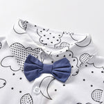 Load image into Gallery viewer, boys, baby, bowtie, overalls, suspenders, outfit, clothing, apparel, cute, adorable, baby, newborn, kiddo, summer, clothes, print, top and pants, set, clouds, moon, going out clothes, little man, blue, white, gray, black